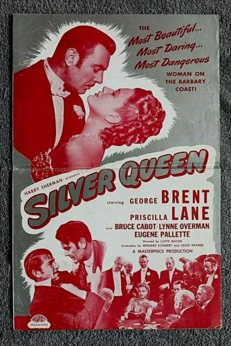 Silver Queen pressbook GEORGE BRENT Pricilla Lane BRUCE CABOT Gambling R-1948