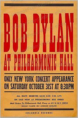 20x30 Poster Bob Dylan Philharmonic Hall 1964 #BDPH
