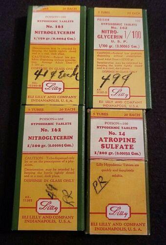 4 VINTAGE ELI LILLY HYPODERMIC TABLET BOXES (POISON) NITROGLYCERIN (3) & ATROPIN