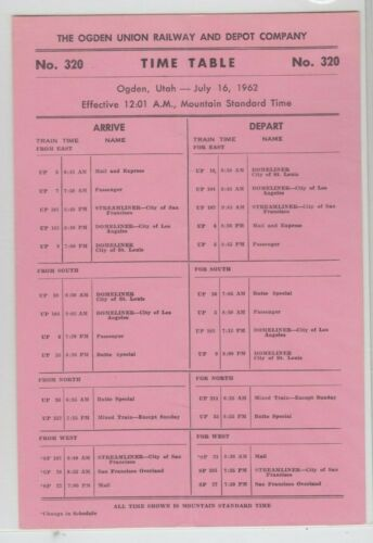 1962 Ogden Union Railway and Depot Company Depot Timetable #320