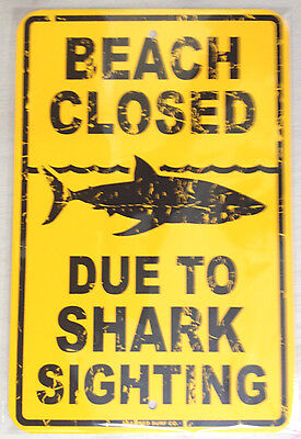 "Beach Closed - Shark sighting metal warning sign Jaws - Ocean safety 18""x12"""