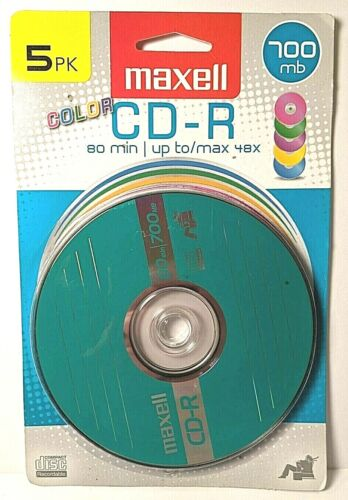 Maxell CD-R 5pk 700mb Multi-color; 80 minutes; up to 48x