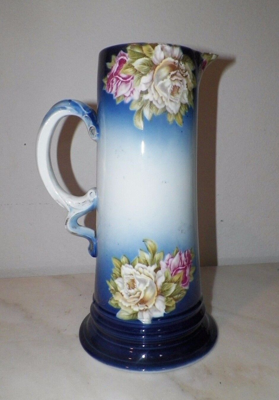 "VINTAGE FRENCH HANDPAINTED BLUE WITH PINK WHITE ROSES TALL PITCHER 12 1/4"" TALL"