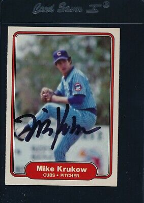 1982 Fleer #598 Mike Krukow Chicago Cubs Signed Auto *27421