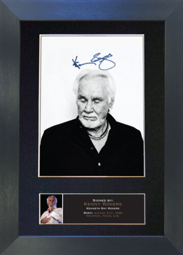 KENNY ROGERS Signed Mounted Reproduction Autograph Photo Prints A4 361