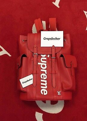 100% Authentic New Supreme x Louis Vuitton Christopher Backpack Red M53414