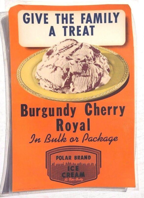 Vtg Burgundy Cherry Royal Polar Ice Cream Advertising Sign / Poster / Lithograph