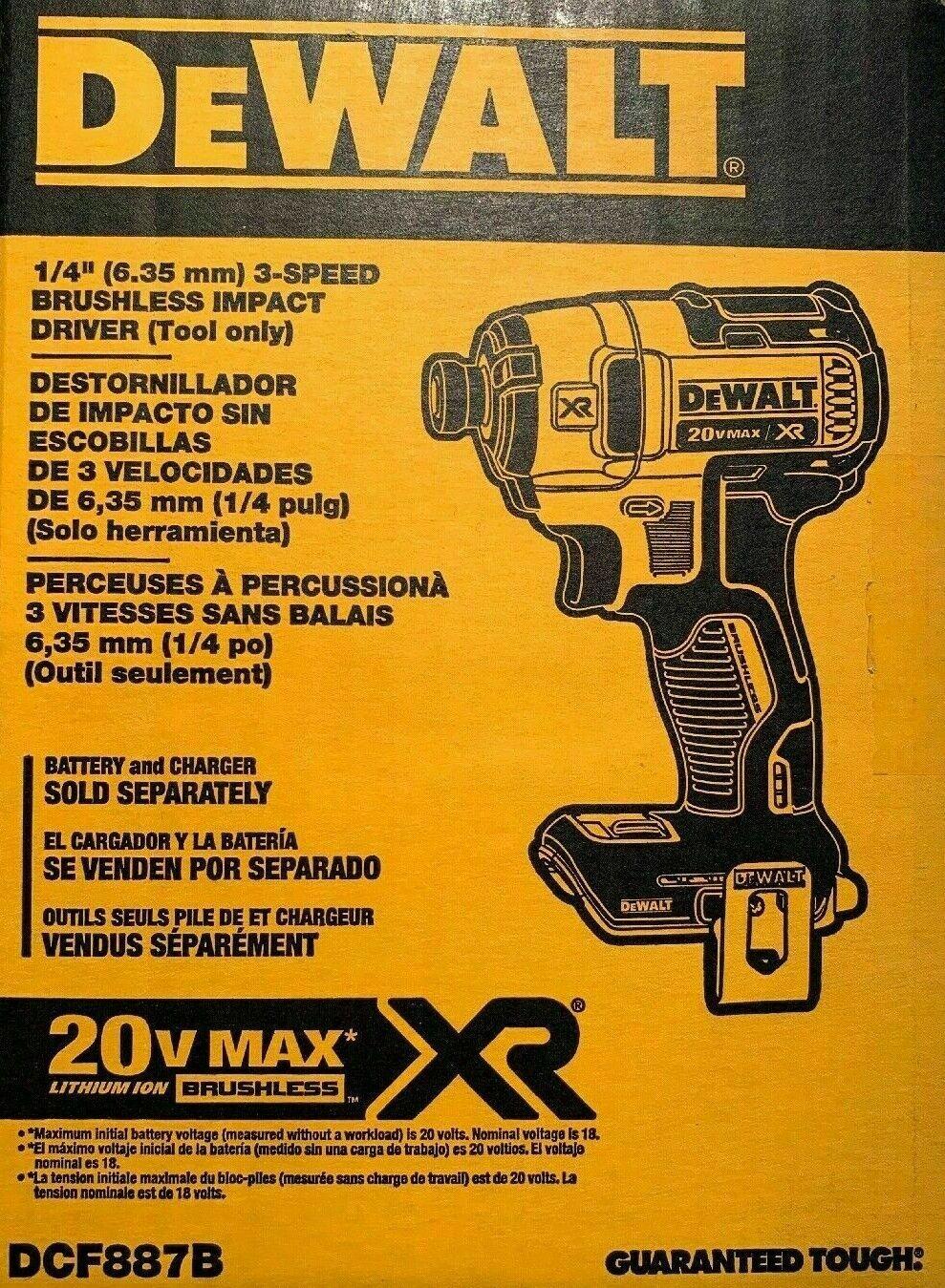 Brand New DEWALT DCF887B 20-Volt MAX XR 3-Speed 1/4 in Impac