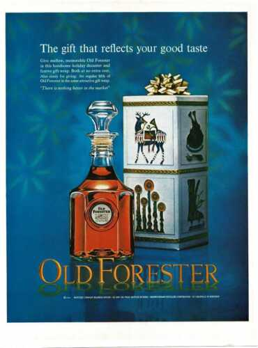 1964 OLD FORESTER Bourbon Whiskey for Christmas Vintage Print Ad
