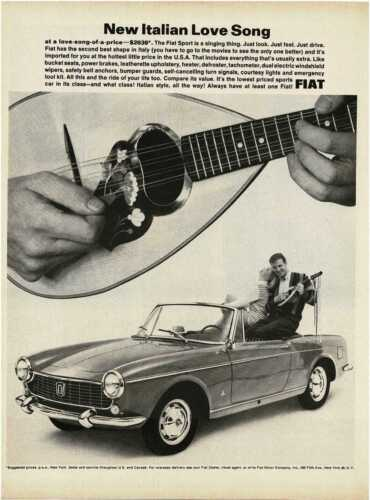 1964 FIAT Spider Convertible Italian mandolin love song Vintage Print Ad