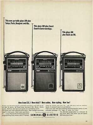 1964 GE GENERAL ELECTRIC Portable Transistor Radios Shortwave Marine Vintage Ad