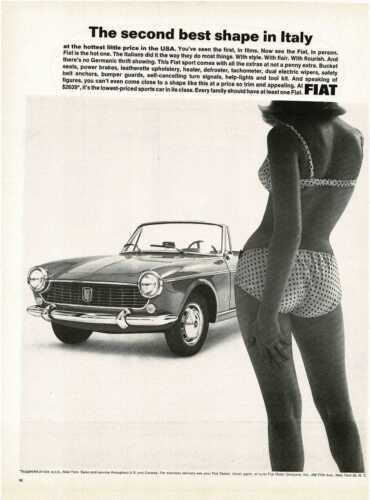 1964 FIAT Spider Convertible Girl wearing a bikini Vintage Print Ad