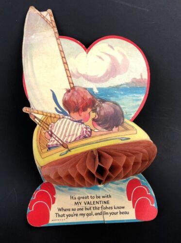 Vtg Valentines Card Honeycomb Sailboat Fishing Bloat Girl Beau Nautica 1920s 30s