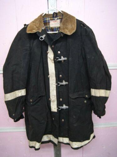 Vintage Fireman Turnout Bunker Coat Globe Size 46 black corduroy collar