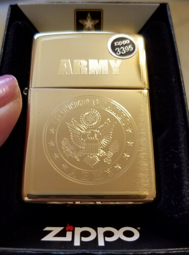 ZIPPO 49314 US Army Crest Auto Engrave High Polish Brass NEW Windproof Lighter