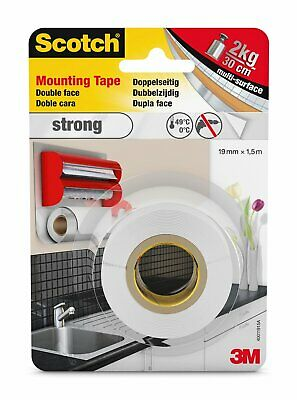 3M Scotch 40011915A Double Sided Mounting Foam Tape, 19mm x 1.5m Strong White FS