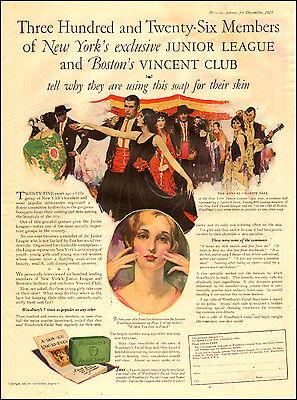 1925 vintage AD WOODBURY FACIAL SOAP Society Soap, nice 20s ART!    060217
