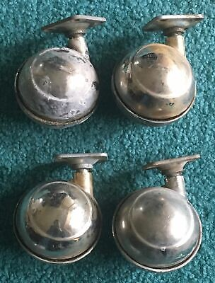 Vintage Antique Lot 4 Brass Casters Round Ball Screw Plate Solid Metal 3 High