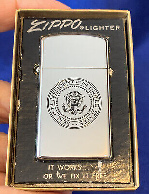 Vintage Presidential Army One Zippo Lighter Helicopter Never Struck Mint In Box
