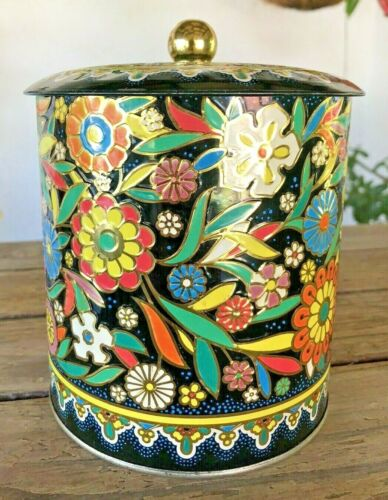 Vintage Daher Floral Decorative Tin With Lid Embossed Canister Made in England