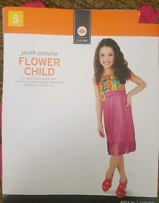 Youth Girls Flower Child Halloween Costume Dress-Up Playtime Outfit Sz: S (4-6)