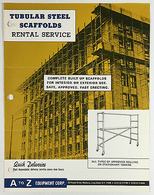 A To Z Equipment Corp Ny Tubular Steel Scaffolds Rental Service Vintage Brochure