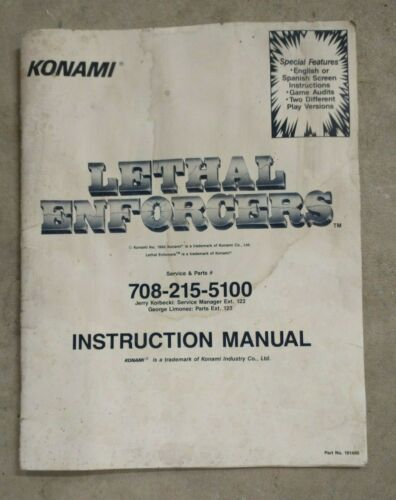 Konami Lethal Enforcers Arcade Manual