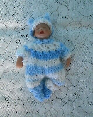 """Doll Clothes 3pc suit for ooak hand sculpted baby 4"""" 5"""" fits Heavenly Handfuls"""