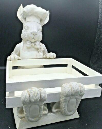 "Mud Pie FLEUR DE LIS White Bunny Rabbit Chef  1999 Cheese board/plate Holder 10"""