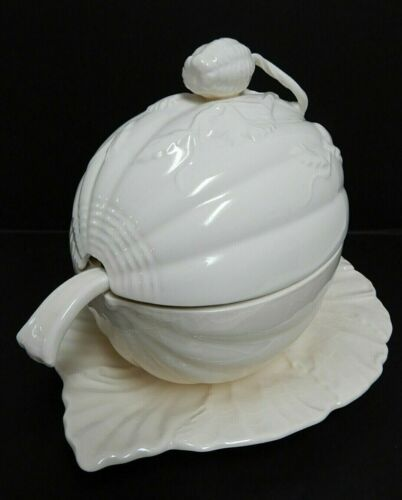 Royal Creamware Mellon Shaped Lidded Soup Tureen w/attached Underplate & Spoon