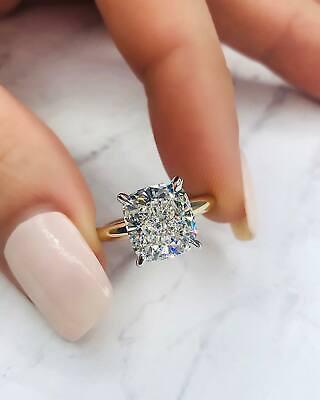Solitaire 1.50 Ct Cushion Cut Diamond Engagement Ring GIA I,VS2 14K White Gold