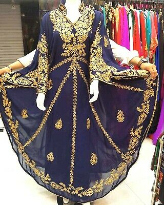 Navy Blue Georgette Abaya Kaftan Moroccon farasha Dress Ms 2019