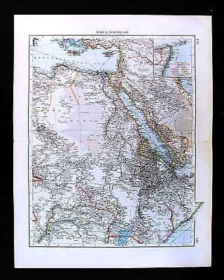 1900 Times Map - NE Africa - Egypt Sudan Libya Nubia Uganda Congo Arabia Mecca