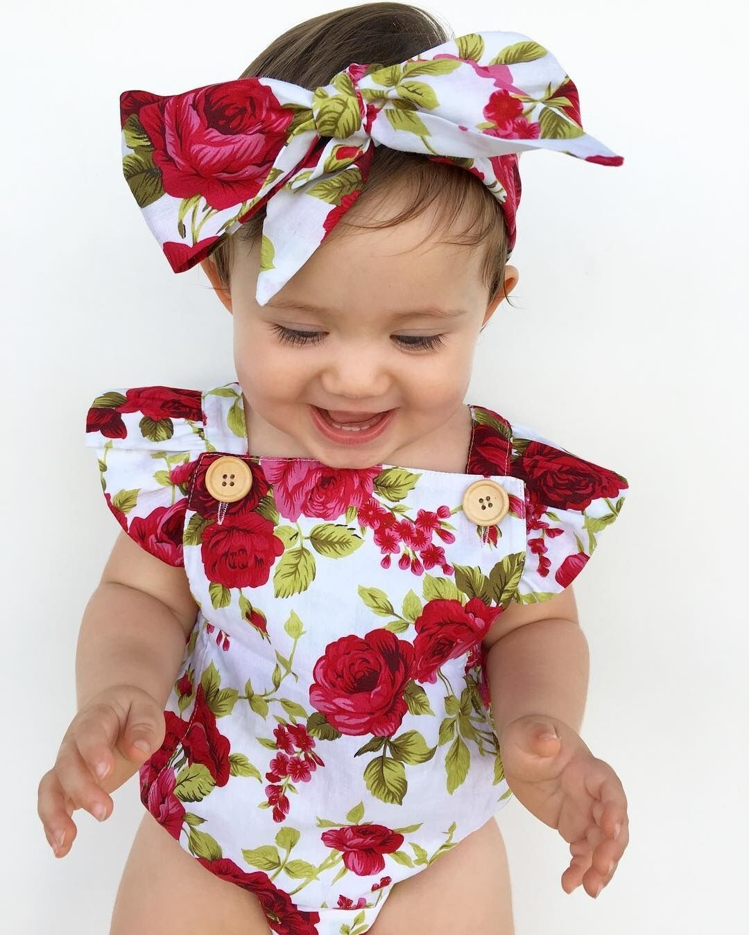 New born Baby Girl Clothes Flower Jumpsuit Romper Bodysuit+Headband Outfits gift