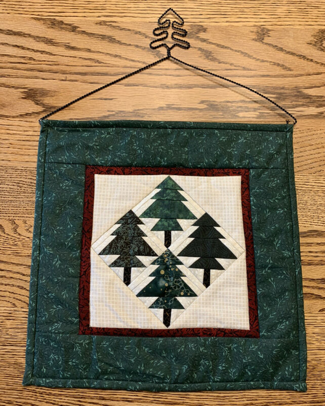 """Handmade Christmas Tree Quilt Wall Hanging 12"""" Square Includes Hanger W/ Tree"""