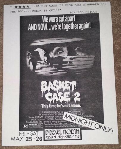 BASKET CASE 2 MIDNIGHT ONLY SHOWING FLYER/HANDBILL-ORIGINAL FROM THE SHOWING-