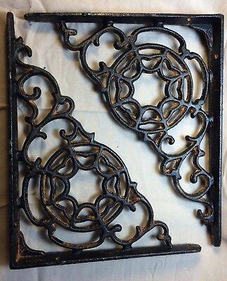 SET OF 4 SPIDERWEB CAST IRON SHELF BRACE BRACKETS rustic black finish
