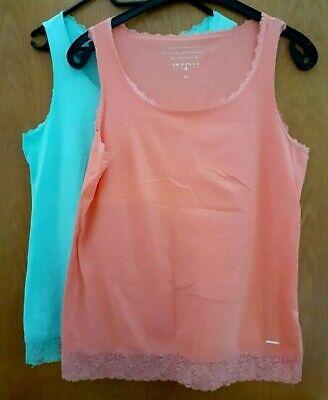2 Long-Tops / hellgrün, orange mit Spitze / Gr. XL / von IN LINEA online kaufen