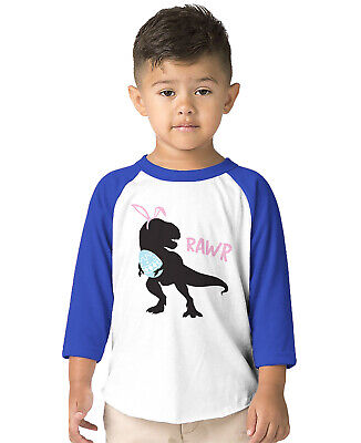 Dinosaur Rawr Easter Egg Hunt Dino T-Rex Holiday Apri Toddler 3/4 Raglan T-Shirt