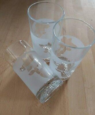 3 Gläser unbenutzt satiniert Wasser floral Blumen russisch Rosen