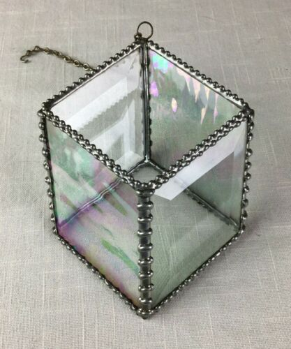 Suncatcher Ornate Sauter Beveled & Iridescent Stained Glass 3D Geometric 4 Sided