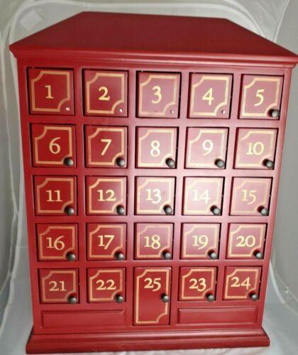 Restoration Hardware Christmas Advent Calendar Dark Red House with 25 doors