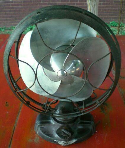 Vintage 1934 Emerson Silver Swan Electric Fan 12 inch Blade 3 Speed