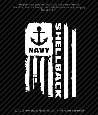 Distressed Navy Shellback Flag Vinyl Decal Military Window Sticker - 4 Sizes