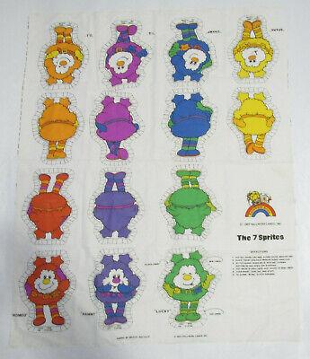 Vintage 1983 Hallmark Rainbow Brite 7 Cut-Out Stuffed Sprites Fabric Sheet