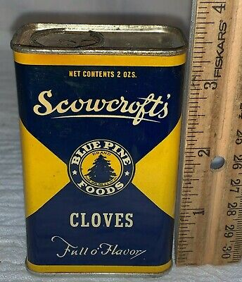 ANTIQUE SCOWCROFTS CLOVES SPICE TIN LITHO CAN BLUE PINE TREE OGDEN UTAH GROCERY