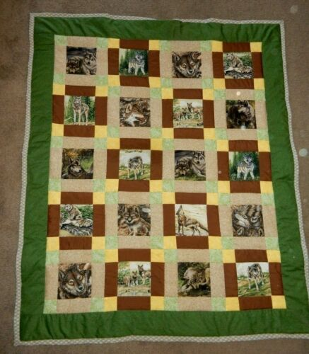 "LOTS OF WOLVES  HOMEMADE  PATCHWORK  QUILT LAP 44 X 53"" wolf cubs  brown green"