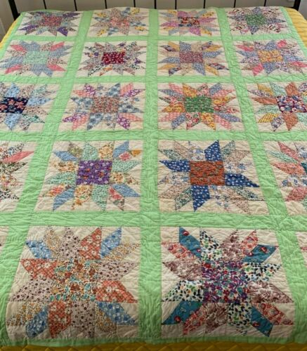 Vintage Feedsack Fabric Quilt Star Patch Bedspread Coverlet **PLEASE READ**