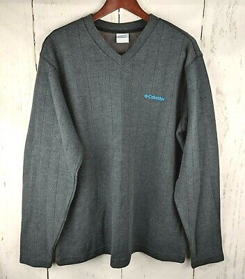 Mens COLUMBIA V-Neck Sweater Large Gray Ribbed Cotton Long Sleeve Pullover Cotton Rib V-neck Sweater