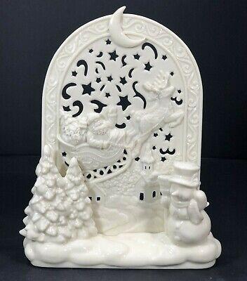 "Porcelain Christmas Candle Holder Creamy White Santa Snowman Trees Reindeer 7""H"